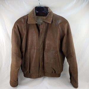Men's Bomber Style Brown Leather Jacket X-Large